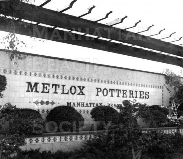Metlox Potteries Sign at the NW corner of Manhattan Beach Blvd. and Valley Dr. The sign now sits on Morningside Dr. at Metlox Center underground parking entrance/exit.