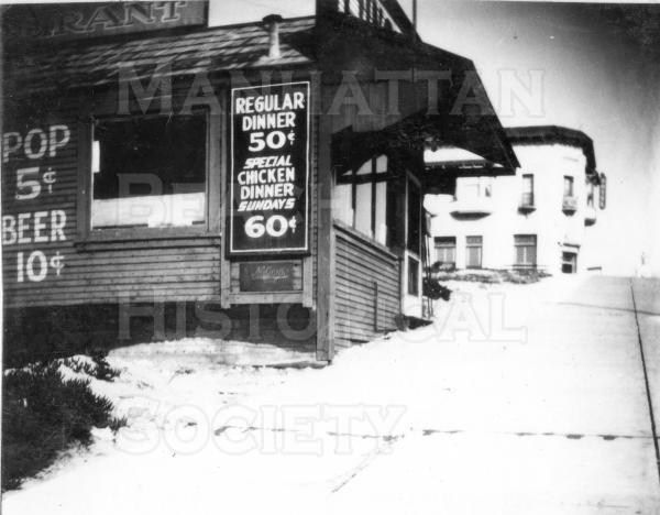 The first city hall (from 1912-14) was in a rented building that was initially John A. Merrill's office. This building at 125 Center Street (Manhattan Beach. Blvd.) was later a cafe.  Note the food prices.