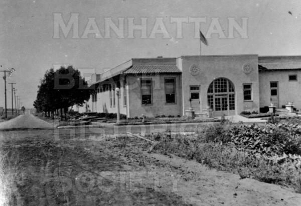 Center Street School.  Looking north from the NW corner of Center St. (M.B. Blvd) and Pacific Ave.  This was the first permanent elementary school, dedicated on April 30, 1914.