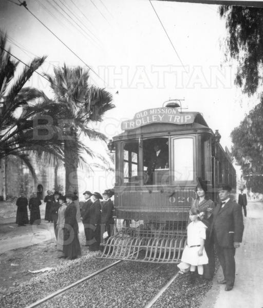 "A Los Angeles Pacific ""Green Car"" on a tour to the San Gabriel Mission.  This was one of the many electrified light rail companies within the greater Los Angeles area.  They were were consolidated under the Pacific Electric Railway Co. during the ""Great Merger"" in 1911."