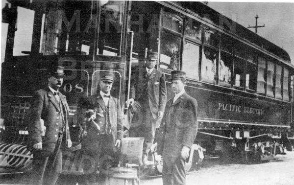 "A Pacific Electric Railway Co. (PE) ""Red Car"" of the 700 Series.  By the md 1920s, PE had an extensive light rail system with over 1100 miles of double track.  The Playa del Rey-Redondo line passed through Manhattan Beach (along the present-day bike path) from 1903 to 1940 when it was taken out of service."