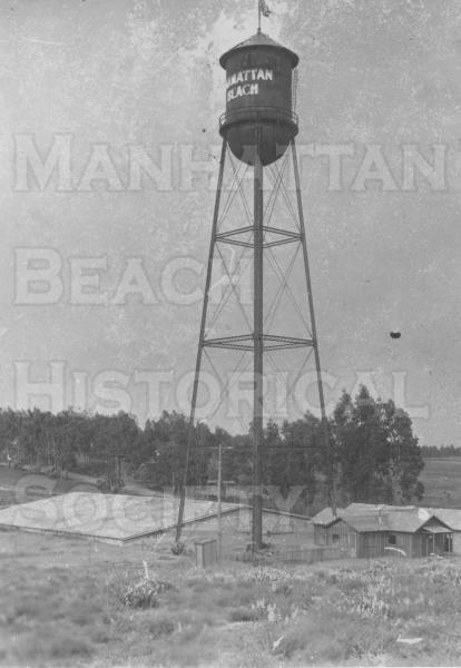 Water Tower located at the City Yard between 7th and 8th Streets on the West side of El Camino Real (present day Sepulved Blvd.).  i.e., the city yard.