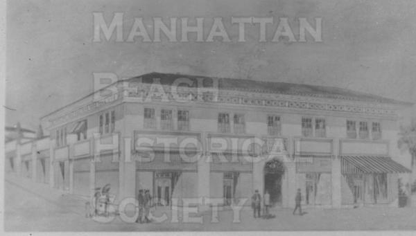Architect's rendering of the Sandler Building that was built on a triple lot at 2120 The Strand during 1913/14.