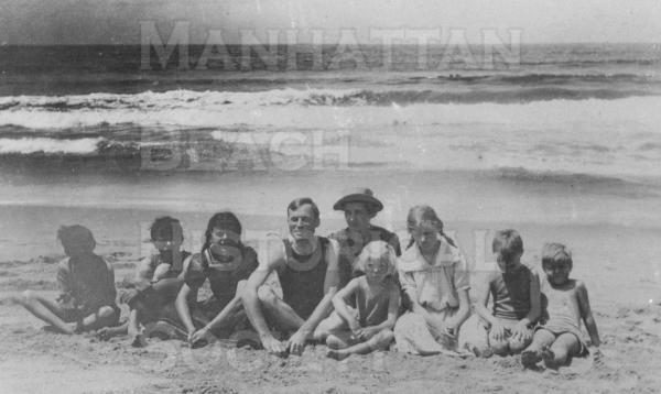 Verano Beach at the foot of 15th St.  Marshal Kuhn, Walter Kuhn, Helen Kuhn, Dr. Swift, Mrs Price, Jennie Price, Cecille Wilson, and Donald Price.