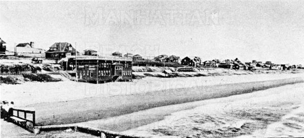 View from old Iron Pier looking south.  The bathhouse was west of the foot of 11th St.  It was owned by the Kuhn Family and was destroyed by a storm in late-1913.