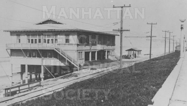 The Marine Ave. Pavillion was completed in 1918.  Located on the beach near the foot of Marine Ave., it served as a social center, bathhouse, dance hall, and roller skating rink.  It also served refreshments.