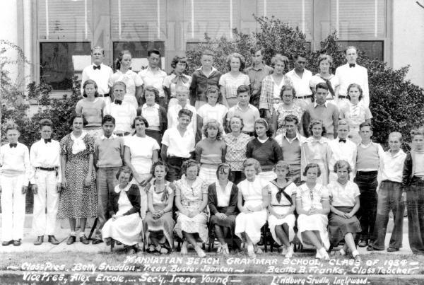 Manhattan Beach Grammar School (formerly Center St. School) graduating class in 1934.
