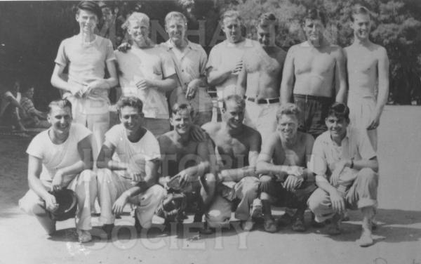 Manhattan Beach Water Rats boys club (surfing and beach activities) at Crater Camp in 1939.