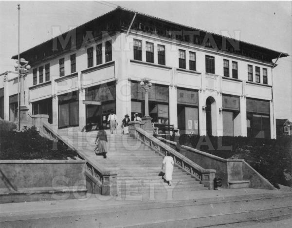 The Sadler Building, located on the Strand at Marine Ave.  The second floor was rented for the second City Hall from 1914-1916.  The Sadler Bldg. and the Marine Pavilion served as the second downtown area for the residents of north Manhattan Beach.