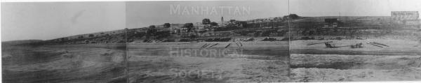 "Panorama of Manhattan Beach from ""Old Iron Pier"" before incorporation in 1912.  Note horses or mules on the beach. The State Bank building is on the right."