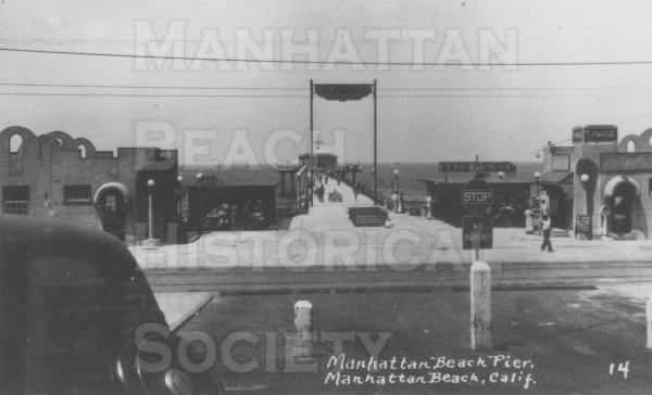Manhattan Beach Pier.  Note the two buildings at the base of the Pier.  They were built to house a Cafe and waiting room for the Pacific Electric Red Cars that had a trolley stop at the Pier.
