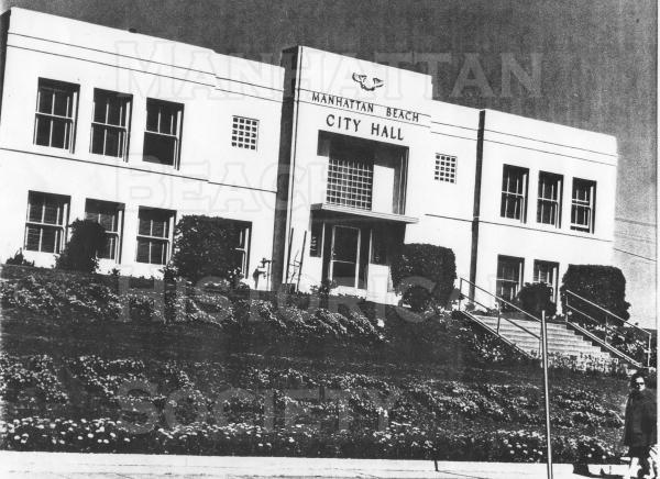 The third city hall was built during 1915/16 on land that was purchased from George Peck for $4050.00.  It was located on a berm just southeast of the corner of Highland Blvd and 15th Street.  It remained operational after being slightly damaged in the 1933 Long Beach earthquake. After the 1971 Silmar earthquake it was declaired unsafe and torn down.