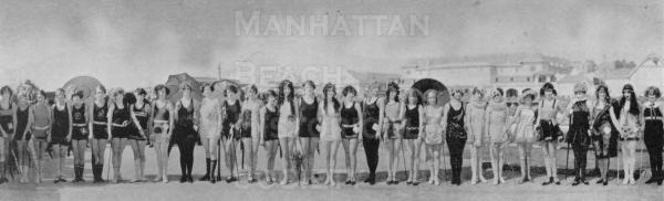 Bathing beauties in front of the Redondo Beach amusement park.