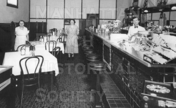 Ercole's restaurant (at 1101 Manhattan Ave.), opening in 1927.  Note the ceramic tile on the front of the counter was done by the owner Joe Ercole.