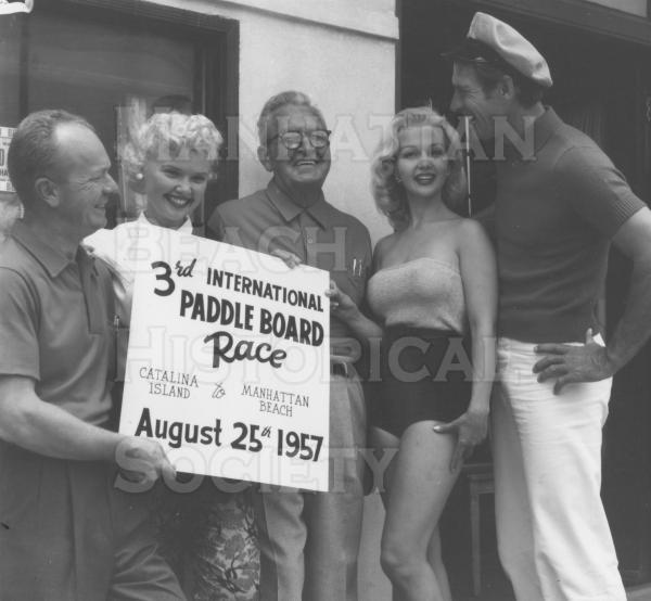 Publicity shot for the Catalina Is. to Manhattan Beach Paddleboard Race.  Bob Jean, actress Margaret Field (Sally Field's mother), Cliff Webster, actress Greta Thyssen, and actor Jock Mahoney (Sally Field's stepfather).