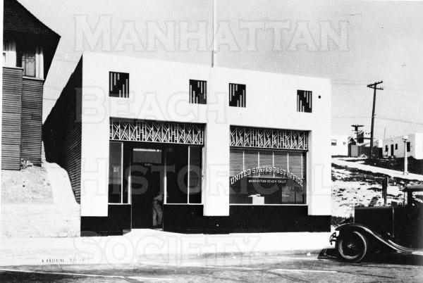 The Post Office at 1004 Manhattan Ave.  This was the first building to be constructed as a Manhattan Beach post office.  The previous two P.Os. had been located within grocery stores.