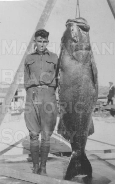 A black sea bass weighing 350 pounds was caught from the Manhattan Beach Pier on August 14, 1924.