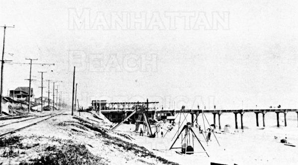Looking south at the beach and the Pier.  Note the double track for the Pacific Electric Red Cars.