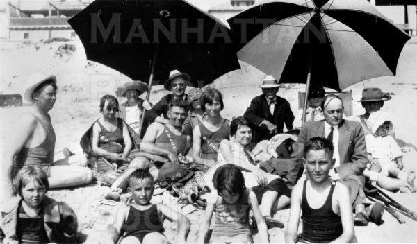 The Drake Family at the beach for July 4, 1924.  The boys are Wilmer (L), made a honorary member of MBHS in the 1980s, and Fritz.
