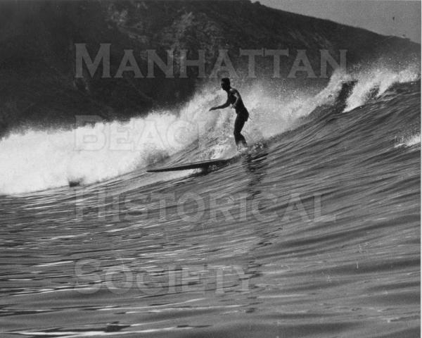 "Life Magazine.  Hal Landis surfing the ""Cove"" in Palos Verdes.  Circa Dec."