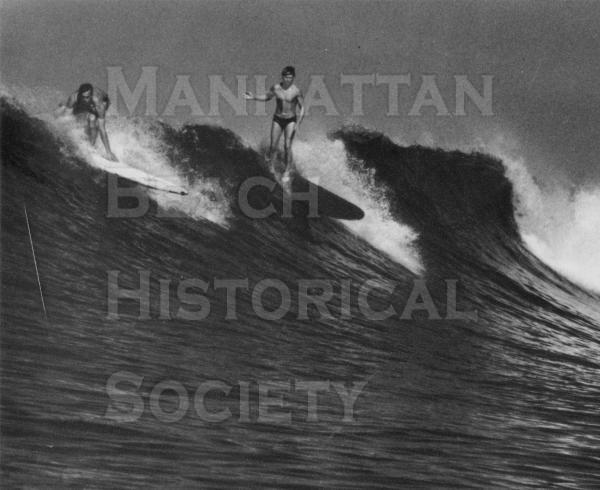 "Art Alsten and Jim ""Burhead"" Drever surfing in Palos Verdes.  From Life Magazine."