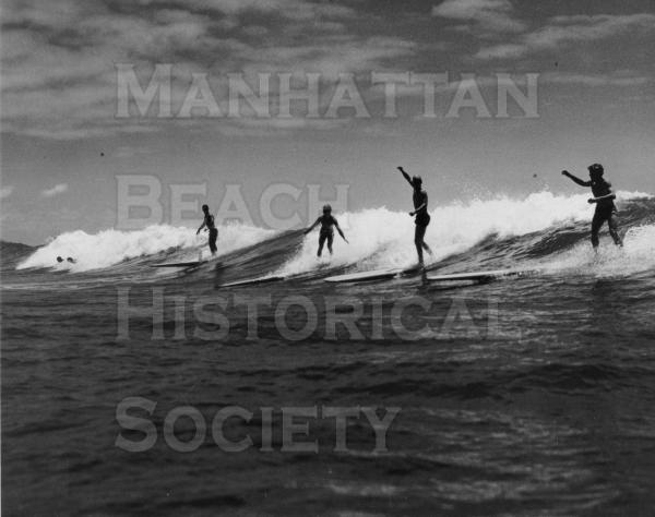 "Surfing San Onofre.  L-R: Levy, Lavagno, McBride, Harrison, ""Straightoff,"" Jahan, Larsen, and Boice.  From Life Magazine."
