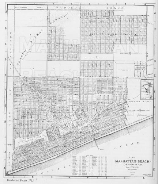 1932 Manhattan Beach Map.  Note that Gould Ave. and Wiseburn/Dewey Avenues are now Artesia Blvd.
