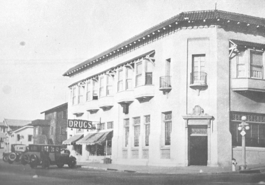 The State Bank Building, located at 201 Center St. (now Manhattan Beach Blvd.), was built by the Merrill brothers in 1902.  It was the first two story building in the city and it initially contained the first hotel, a general store, and the first post office.
