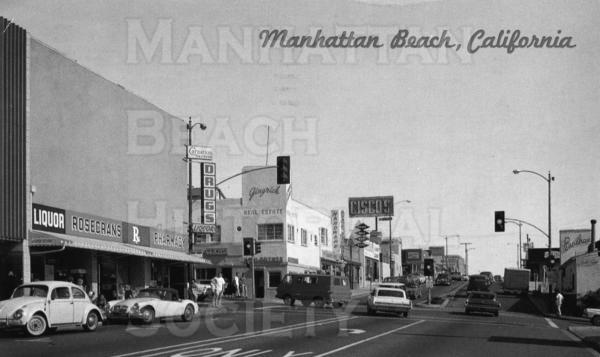 View from 38th St. looking south down Highland Ave.  Panchos at 3615 Highland Ave. and Ciscos at 3600 Highland Ave were both popular restaurants in North Manhattan Beach.  Panchos was expanded in 1974 and still exists.