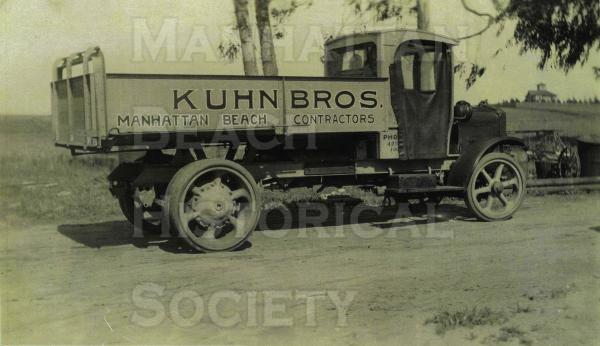 The Kuhn Bros. dump truck.  The White heavy-duty truck was used to haul sand and help smooth out the sand dunes.  Photo believed to be in Tree Section.
