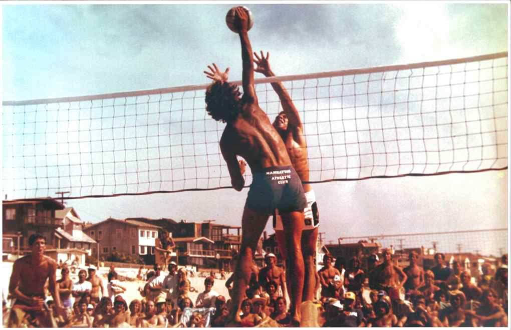 Two-man Beach Volleyball begun in the late 1940s.   Mike Bright and others playing a game in Manhattan Beach.