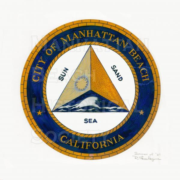 The design for the City Seal was the result of a competition  Many professional designers enterred but it was won by R. Steven Hargrove, a Mira Costa sophomore.